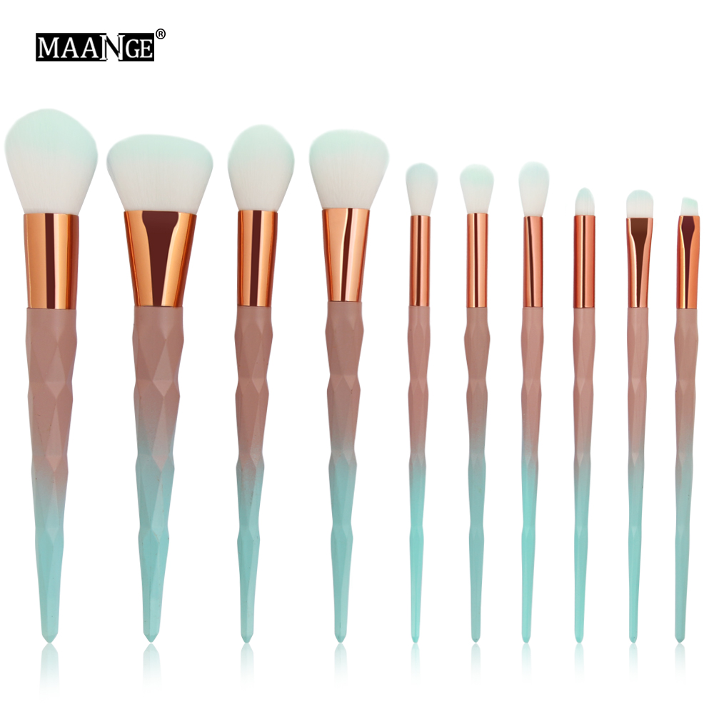 MAANGE 10 Piece Diamond Makeup Brushes Set Powder Eye Shadow Foundation Blending Contour Cosmetic Green Beauty Brush Tools Kit vander 5pcs pro lollipop shaped makeup brushes set powder foundation eye shadow beauty face lip blusher cosmetic brush blending