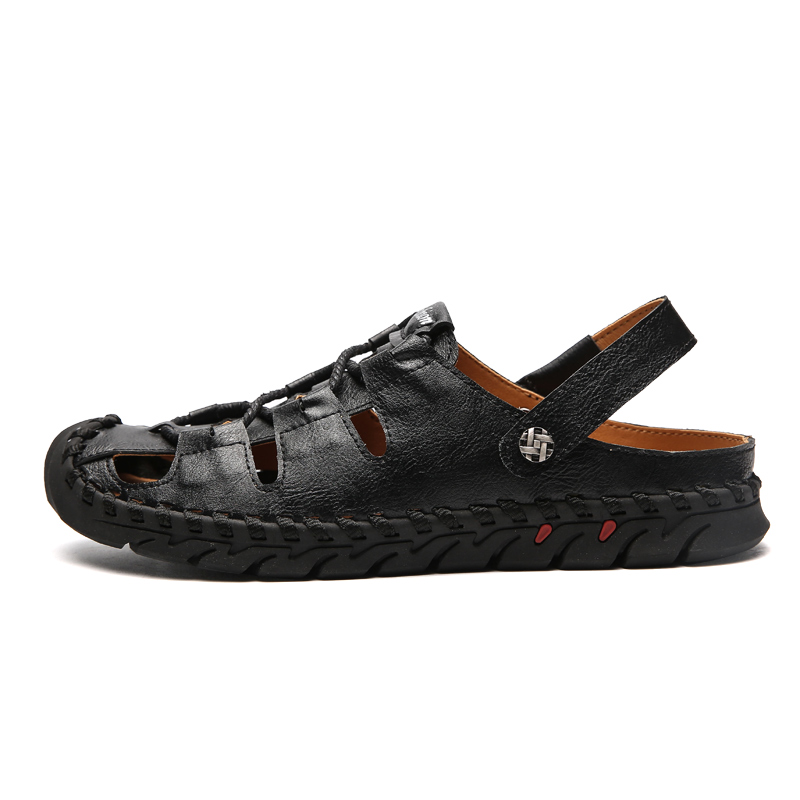 Leather Sandals men Outdoor Summer Handmade Men Shoes Men Breathable handmade Casual Shoes fashion Footwear Walking Sandals k5