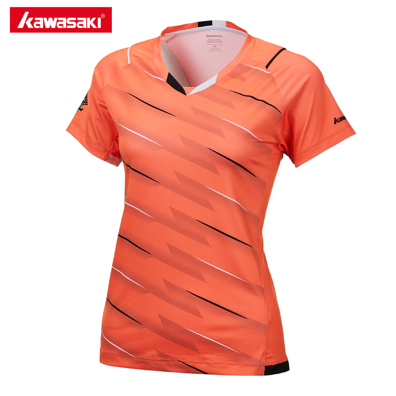 Kawasaki Brand 2018 Badminton Clothes Sportswear Shirts For Female V-Neck Breathable Badminton Sport T-shirt For Women ST-172001