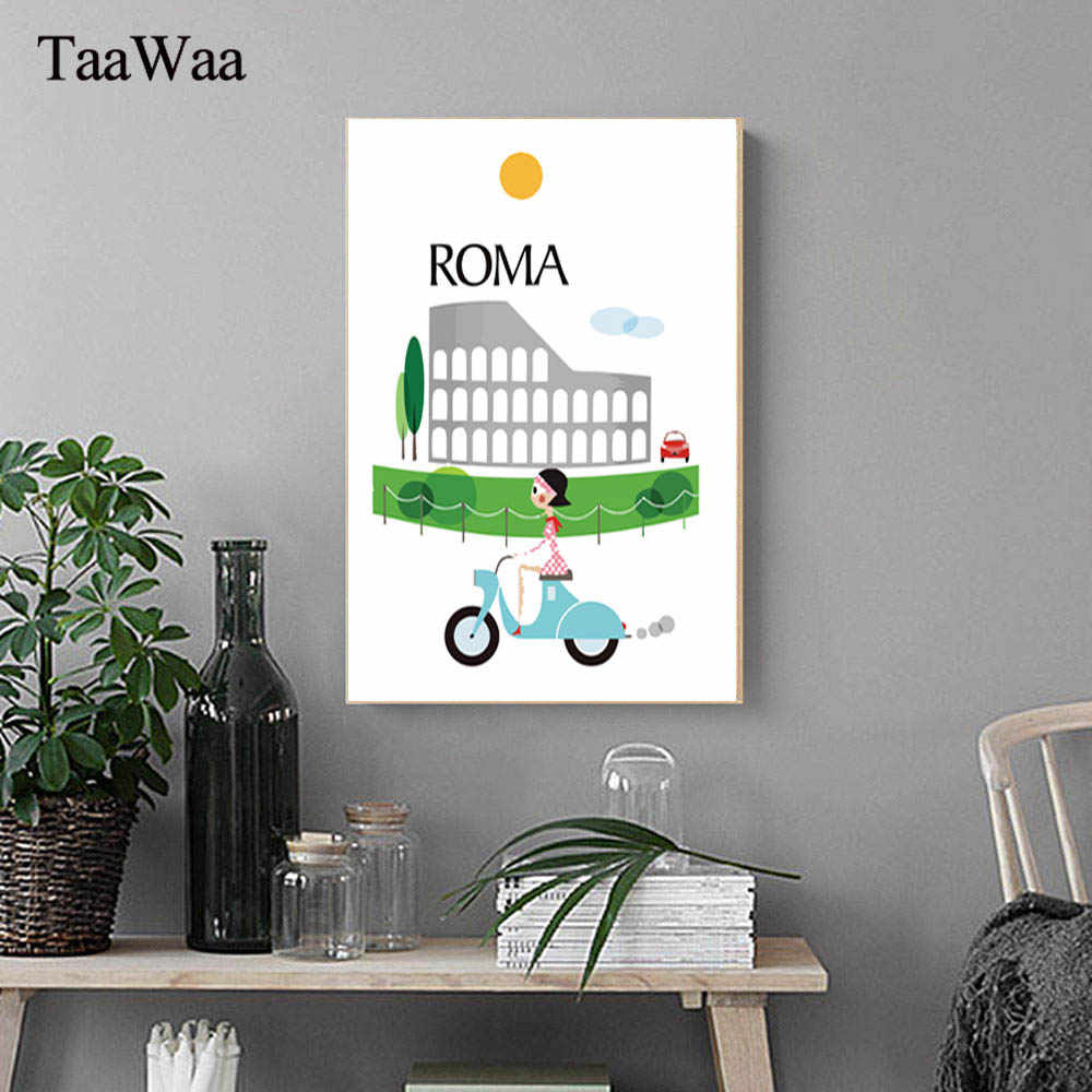 TaaWaa New York London Vintage Poster The Morning of City Landscape Wall Art Canvas Painting Print Picture For Room Home Decor