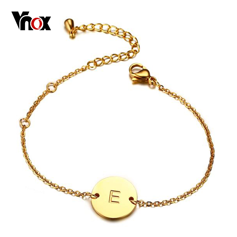 VNOX Elegant Letter Engraved Bracelet for Women Gold color Stainless Steel Chain Link Adjustable Length Female ID Jewelry jaguar часы jaguar j660 2 коллекция acamar chronograph page 4