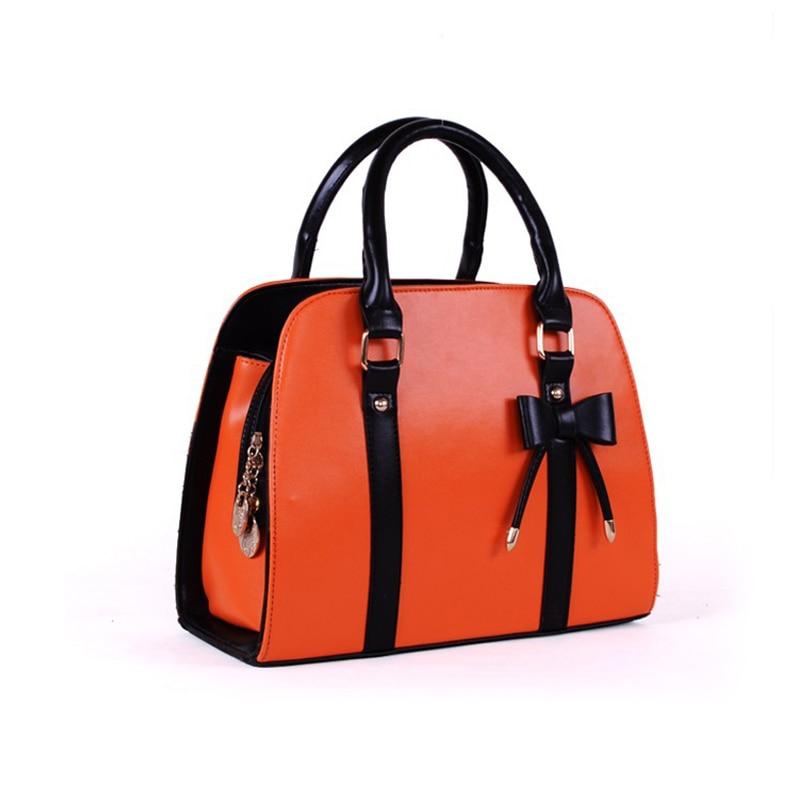 ФОТО candy color women handbag and Bow PU Leather Designer Handbags High Quality Leather Sac Shoulder Bags Women bag