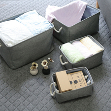 hot deal buy foldable cotton linen storage basket hamper portable dirty clothes laundry baskets for baby clothing kids toys organizer box