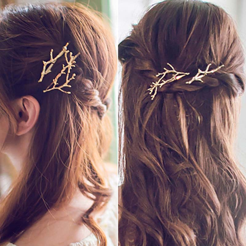 Hair Jewelry  Hair Jewelry: H109 Free shipping 18K Gold Plating Branch Hair Clip Barrettes Girls Lovely Hair Accessary Gift