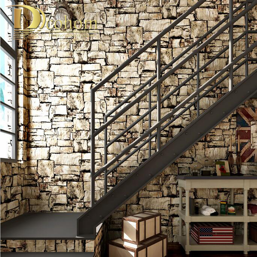 Vinyl Steinoptik Wand Vintage Faux Stone Brick Pattern Vinyl Wallpaper For Walls Roll