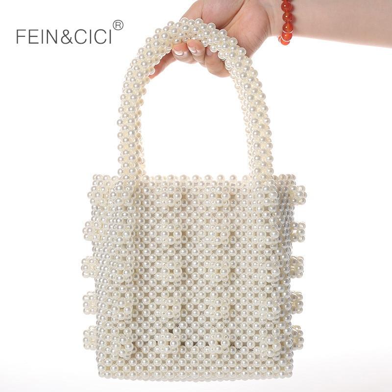 Pearls bag beaded Vintage Acrylic box totes women evening party Small Flap handbag 2019 summer luxury
