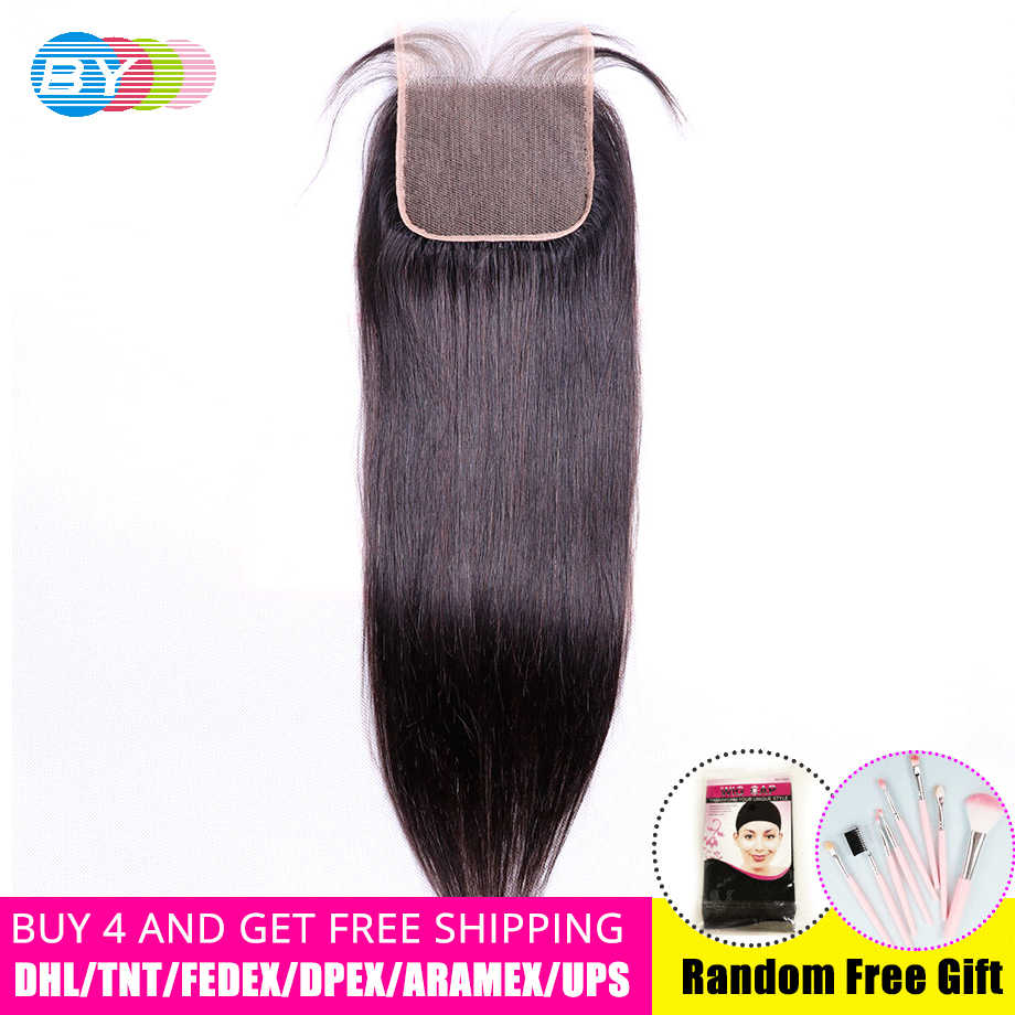 BY Hair 5x5 Straight Lace Closure Human Hair Brazilian Remy Hair Closure With Baby Hair Bleached Knots Natural Color