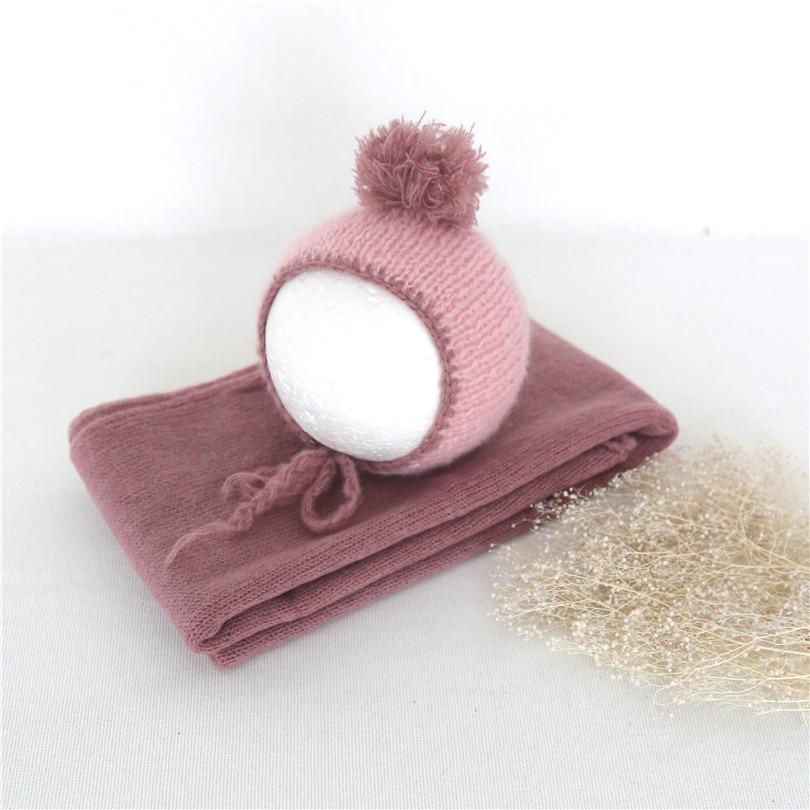 Baby Girl Pom Pom Hat Baby Photography Outfit Jersey Knit Wraps Newborn Wrap Crochet Newborn Swaddle Knit Blanket Photo Prop Hat