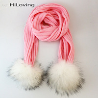 2016 Fashion Winter Kknitwear Scarf With Pompom In Women Fur Pompom With Winter Scarf Girl Knitted