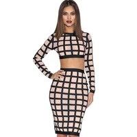 핫 & 섹시 클럽 두 조각 바지 세트 여성 Bodycon 연필 스커트 세트 작물 최고 Clubwear 2 개 복장 TC80501120006