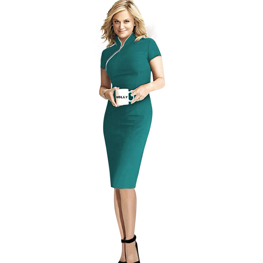 Women Casual Short Sleeve S-XXL Dresses Elegant Work To Wear Office Dress Pencil Dresses