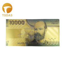 Gold Banknote Chile Banknotes 10.000 Pesos Collectibles in Golden Plated for Collection Gift