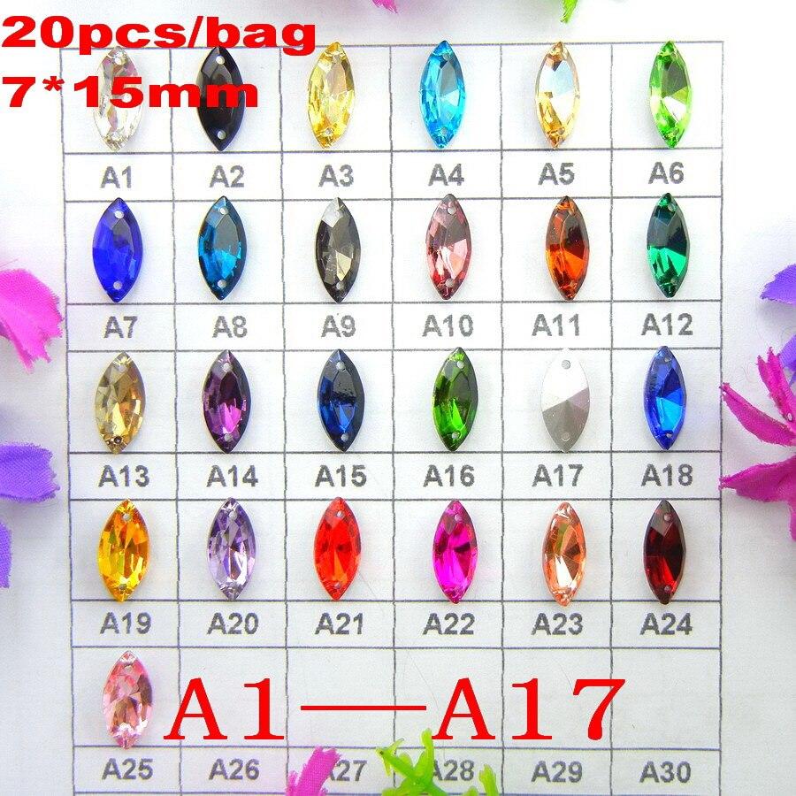 ⃝[A1-A17] dos agujeros 7*15mm 20 unids/bolsa Niza colores mezcla ...