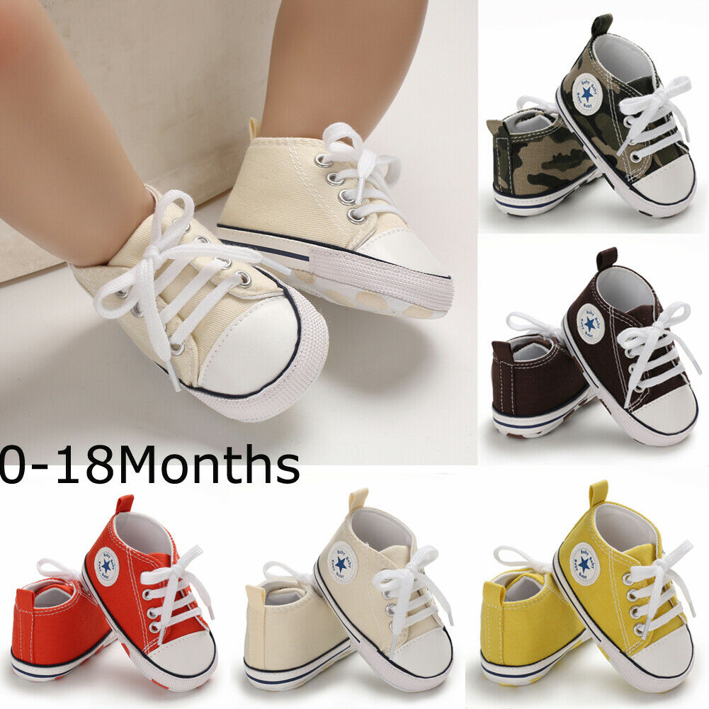 Cute Toddler Kids Canvas Sneakers Baby Boy Girl Soft Sole Crib Shoes 0-18 Months