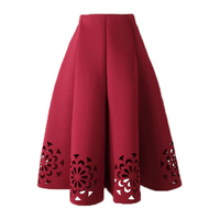 Women Pleated Skirts Midi High Waist Skirts Hollow Elegant Vintage Floral Black White Navy Green Red