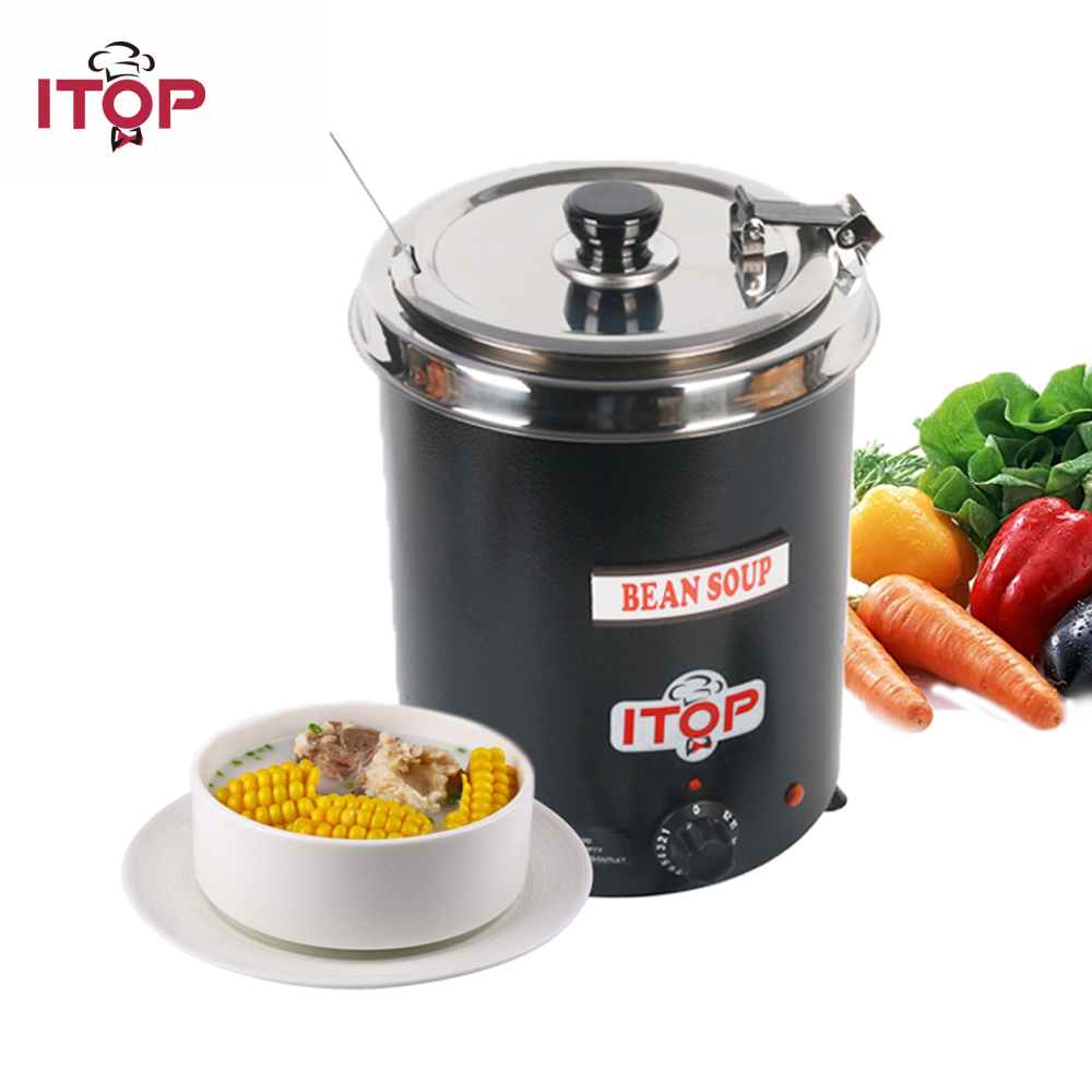 ITOP 5.7L Electric Soup Pots Kettle 110V 220V Food Boiler Commercial Catering Stew Sauce Food Warmer Bain Marie Pot