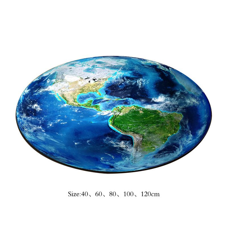 3D Earth Round Carpet Parlor Living Room Mats World Map Printed Children Kids Boy Bedroom Chair Circular Bath Rug Home Use Hot