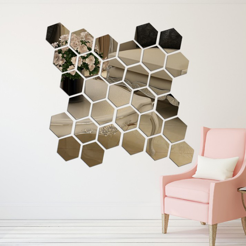 DIDIHOU 12Pcs 3D Hexagon Acrylic Mirror Wall Stickers DIY Art Wall Decor Stickers Home Decor Living Room Mirrored  Sticker Gold