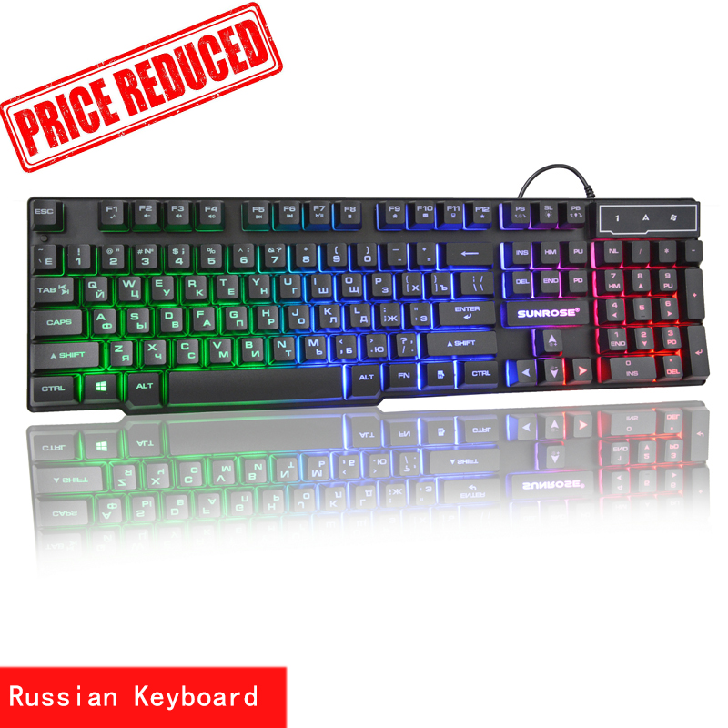 Sunrose Russian English 3 Color Backlight Gaming Keyboard Teclado Gamer Floating LED Backlit USB Similar Mechanical
