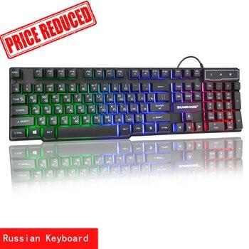 Sunrose Russian / English 3 Color Backlight Gaming Keyboard Teclado Gamer Floating LED Backlit USB Similar Mechanical Feel new original backlit backlight keyboard for lenovo thinkpad t460p us english teclado 00ur355 00ur395 sn20j91881