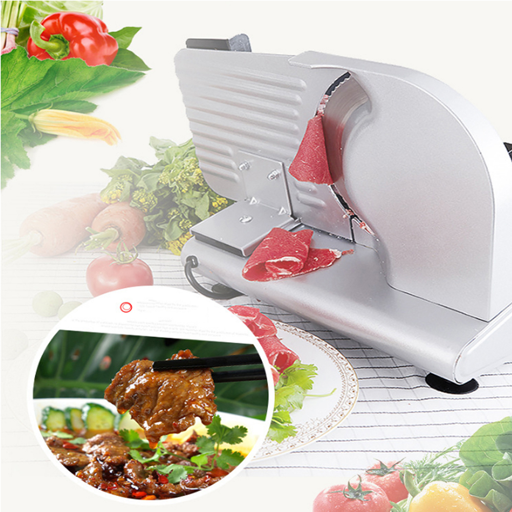 GZZT Electric Meat Slicer Frozen Stainless Steel Automatic Meat Slicer 200W Slicer Meat Mutton Roll Beef Cutter Machine in Other Meat Poultry Tools from Home Garden