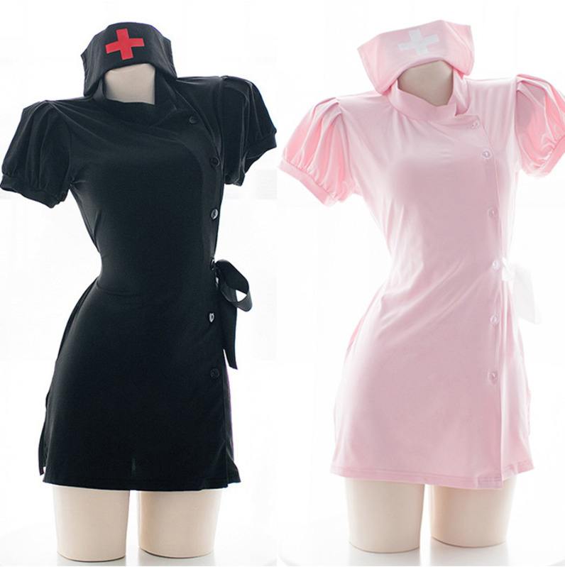 Women Sexy Costume Lady Nurse Girl Uniform Set Sexy Maid Exotic Apparel Role Play Sexy Underwear Cosplay Uniform Pink&Black