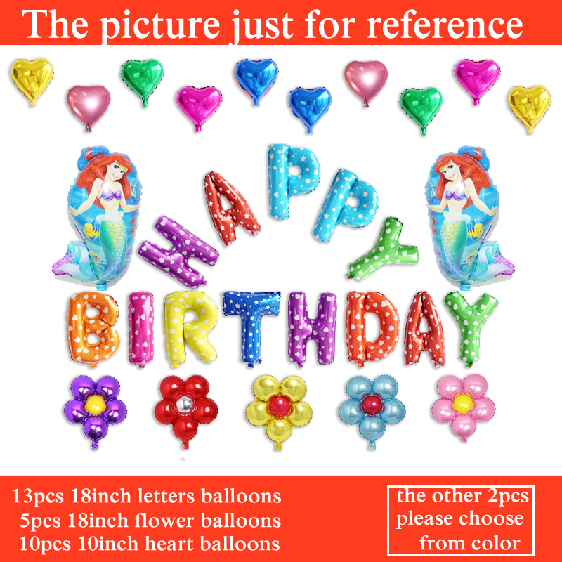 30pcs foil balloons princess Ariel birthday balloons for girl birthday little mermaid balloons decoration free shipping