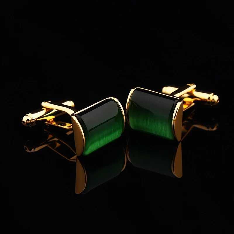 Жених Свадебное торжество деловая встреча мужские тельняшки Запонки Черный агат геометрические Запонки Золотые Запонки с подарочной сумкой