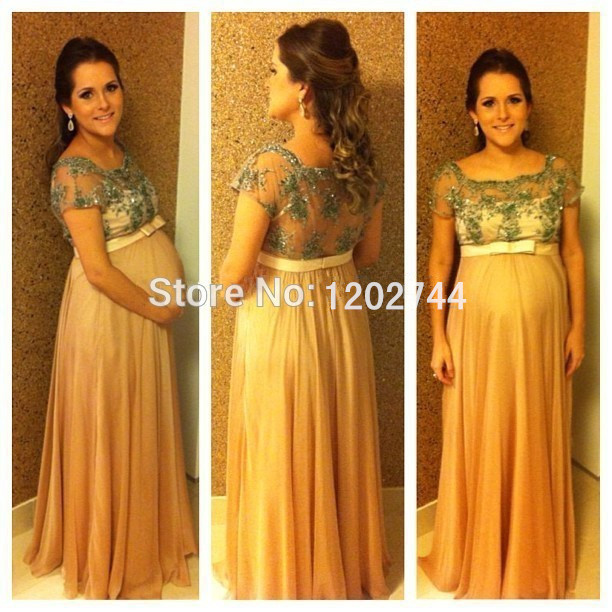 0826ea16bf8 A Line Short Sleeve Chiffon Maternity Evening Dresses with Beaded Lace  Appliques See Through Back Formal Gown for Pregnant Women