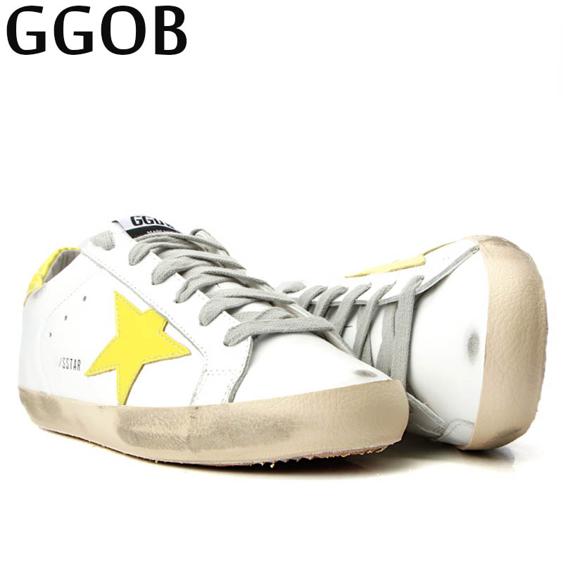 GGOB 2018 Casual Genuine Leather Flat Shoes Women Korean Brand Handmade Vintage Distressed Lace-up Yellow Star Cowhide Shoes