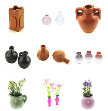 Pottery Ceramic 1: 12 Dollhouse Miniature Toy Porcelain Decoration Vase Pot(China)