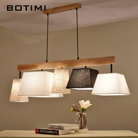 BOTIMI Elegant Fabric Pendant Lights Lampadario Lampshades Hanging Lamp For Dining Suspension Bar Lamps Wood Kitchen