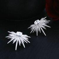 Fashion Glitzer AAA Zirkonia Stern Sonnenblumenförmigen Weiß Stein ohrstecker Frauen Schmuck Mithelfer