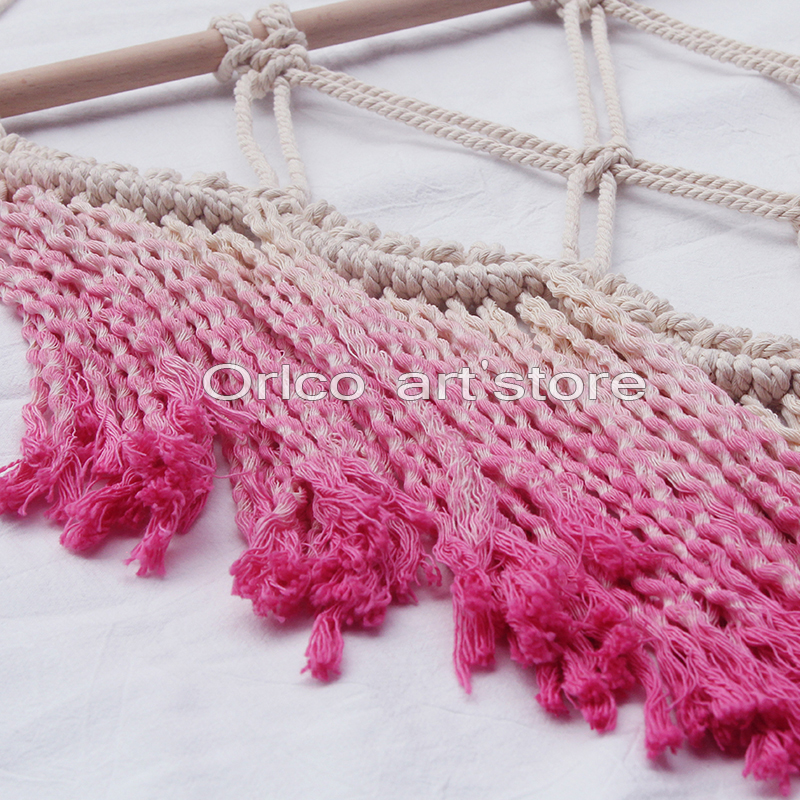 Handmade hanging wall art tapestry weaving Pink bohemian home wedding decor Macrame Cotton Wall Hanging with Lace Fabrics