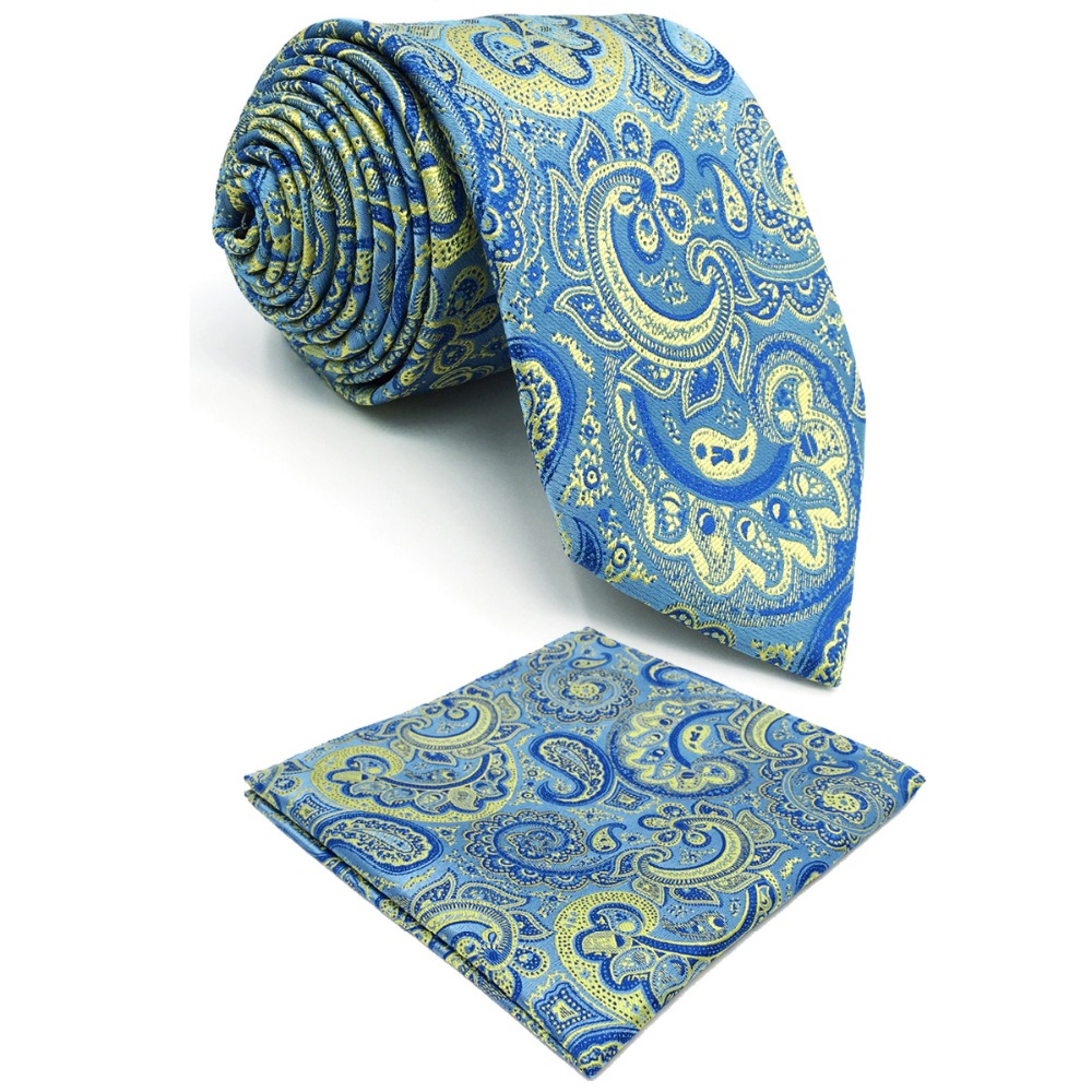 E8 Azure Yellow Paisley Silk Mens Necktie Wedding Classic Ties for male Classic Novelty Extra long size Hanky