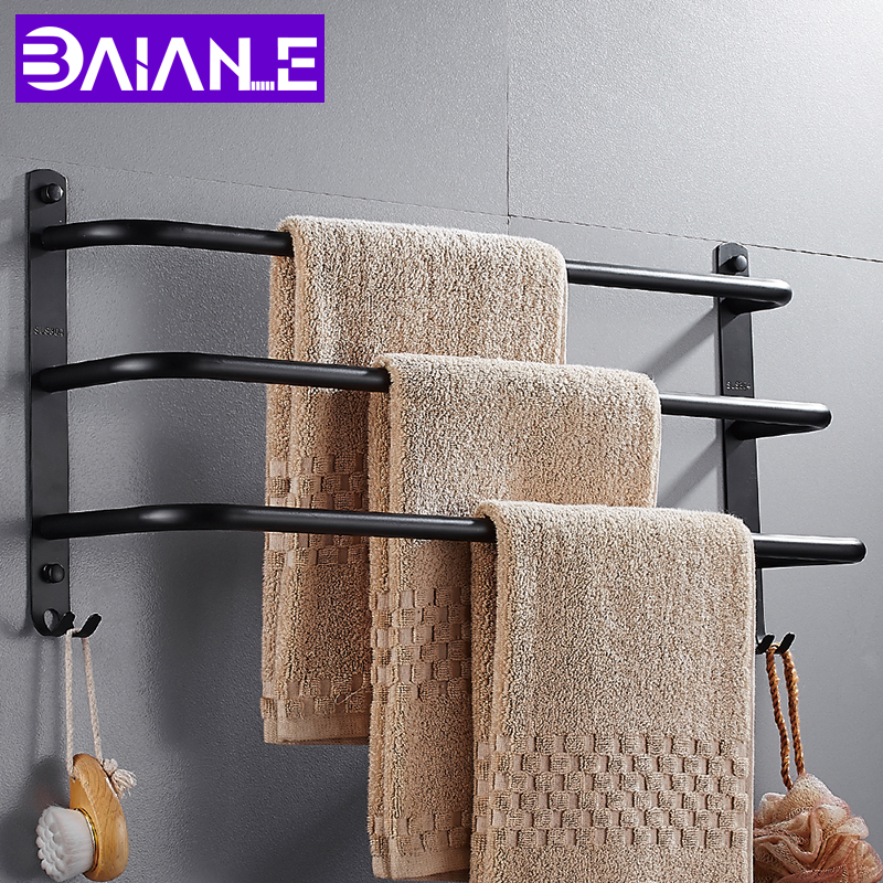 BAIANLE Bathroom Stainless Steel Towel Bar with Hook Toilet Wall-mounted Towel Rack Black Bathroom Accessories wall mounted 5 hook rack