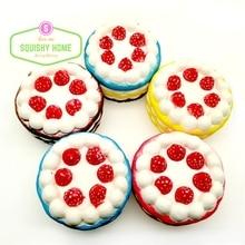 1PC Cheap Kawaii Strawberry Cake Squishy Slow Rising 10s- 15s Cream Cake Mango Yellow Rosy Blue Kids New Year Toy Gift free ship