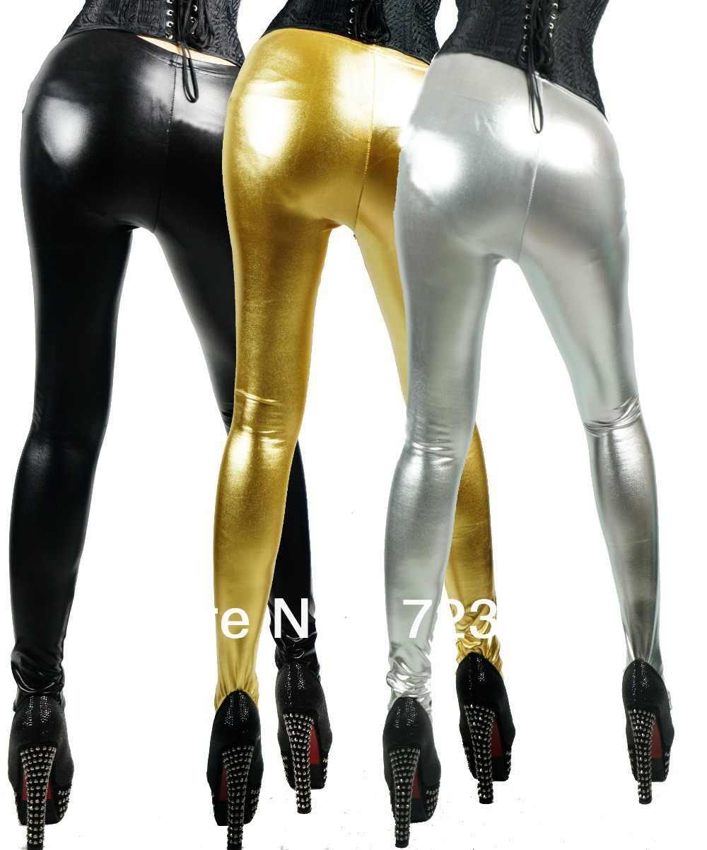 6ebd91a2377 New Arrival Soild Skinny Mid Waist Pants Metal Color Silver Black Gold  Leggings Punk