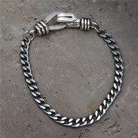 Thai Vintage Sterling Silver Wheat Lines Bracelet Men's Jewelry Retro Thai 925 Silver Wrist Link Sculpture