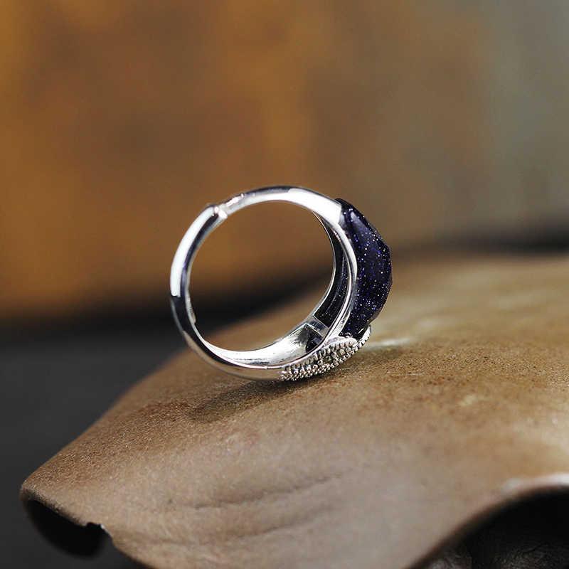 925 เครื่องประดับเครื่องประดับแหวน 925 เงินสเตอร์ลิงแหวนหินสีฟ้าอัญมณี Phoenix Phoenix ออกแบบสำหรับสตรีเปิดของขวัญ RR99