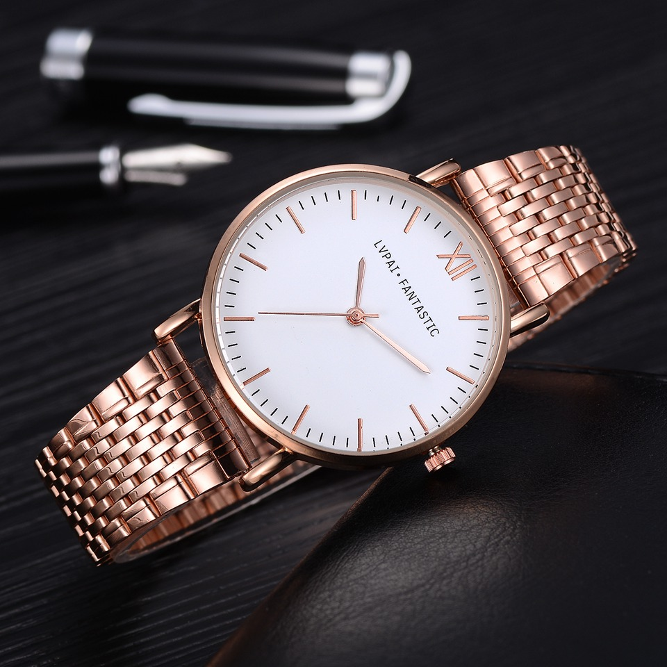 Lvpai Brand Women Luxury Watch Rose Gold Classic Stainless Steel Men Dress Quartz Clock Watch Ladies Dress Business Watch Gift kimio brand rose gold luxury slim bracelet ladies casual business waterproof clock women dress stainless steel mesh quartz watch