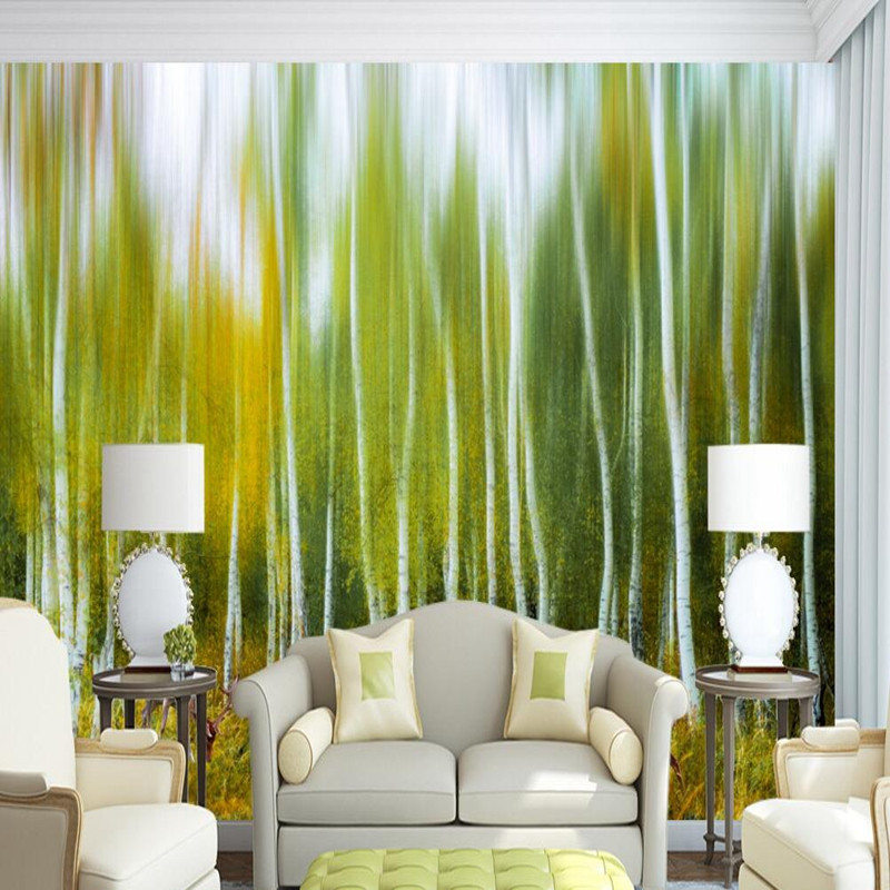 Custom 3D Wall Murals Wallpaper for Living Room White Birch Woods Wallcoverings 3D Wall Murals for Wallpaper Decor Wallpaper 3D shinehome black white cartoon car frames photo wallpaper 3d for kids room roll livingroom background murals rolls wall paper