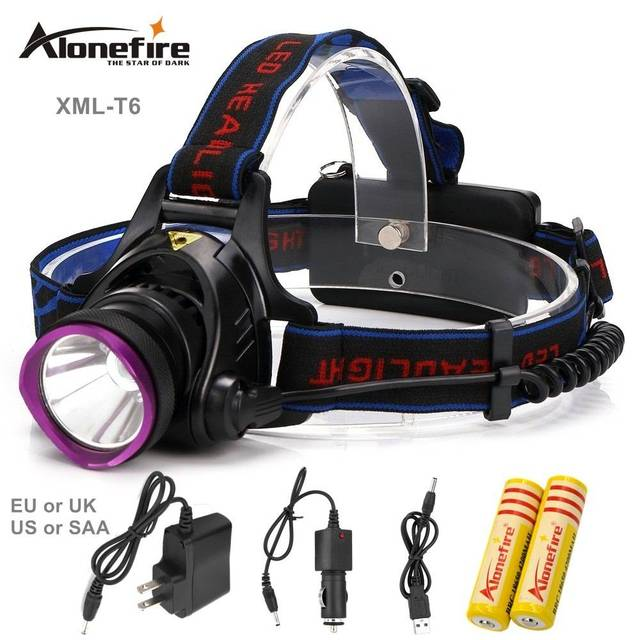 AloneFire HP81 2000LM Headlamp CREE Headlight XML-T6 3modes Waterproof Rechargeable XM-L T6 LED light