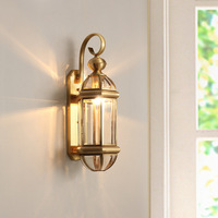 European Classical Foyer Led Wall Lamps Copper 110 220V Bedroom Bedside Wall Lights Balcony Aisle Wall Deco Sconce Surface Mount