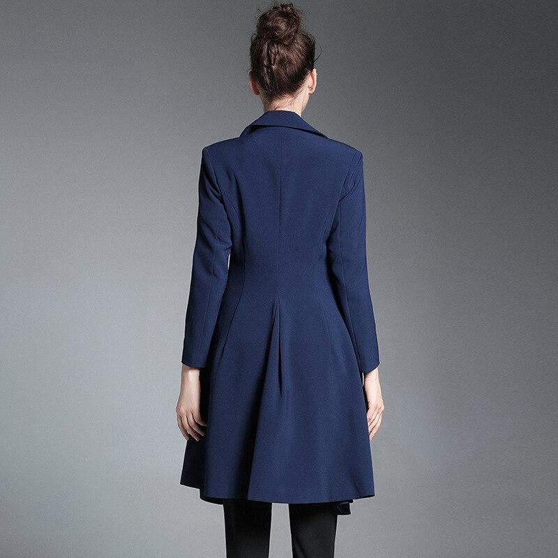 Automne 2018 Mince Manteau Mode Bleu Tranchée Unique Bouton Qualité D'affaires Outwear Style Bureau Femmes A Solide Couleur De Haute ligne RqXwgR