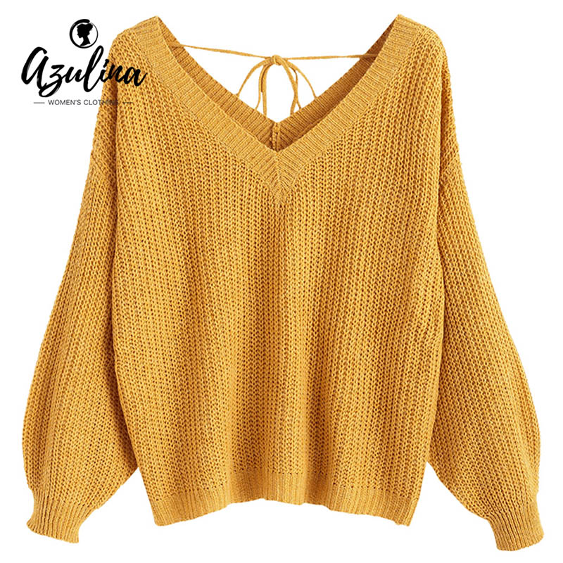 Detail Feedback Questions about AZULINA Oversized V Neck Drop Shoulder  Textured Sweater Women Autumn Ladies Tops Loose Casual Pullovers Female  Sweaters ... 2554a19a7