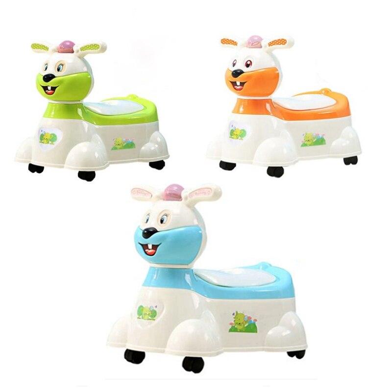 Children's Potty Lovely Music Rabbit Kid WC Plastic Baby Toilet Training Boy Girl Unisex Children's Pot Travel Portable Toilet