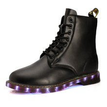 2016 Superstar Favorite Luminous Boots  Men's New Fashion Casual Martin Boots LED Lights Bottom Leather Outdoor Leisure Boots