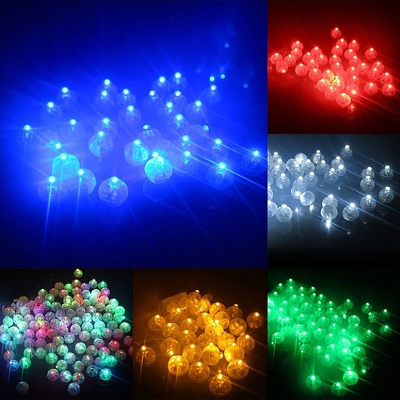 10 Pcs/set Mini LED Light Ball Lamp For Balloon Lantern Birthday Parties Decor Kids Glow In The Dark Toys 6 Colors
