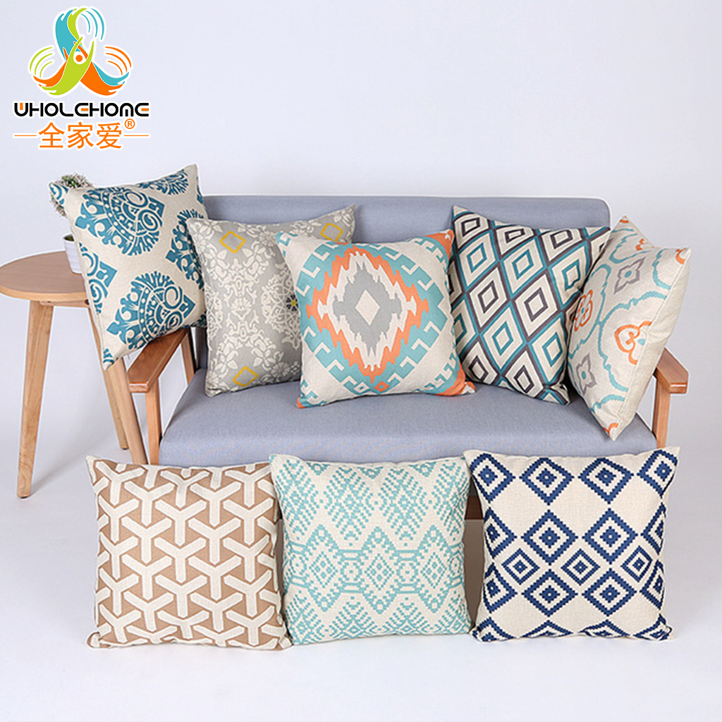 Vintage Geometric Cushion Cover Colorful Bohemia Stripes Style 18 Throw Pillow Case Cotton Linen Decorative Sofa Pillow Cover